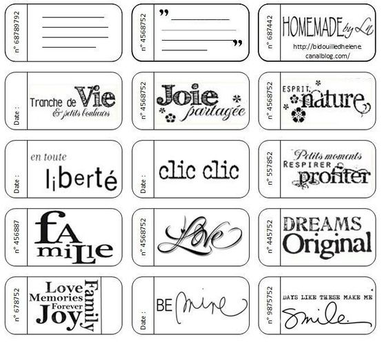 Printable tickets themed for love and family