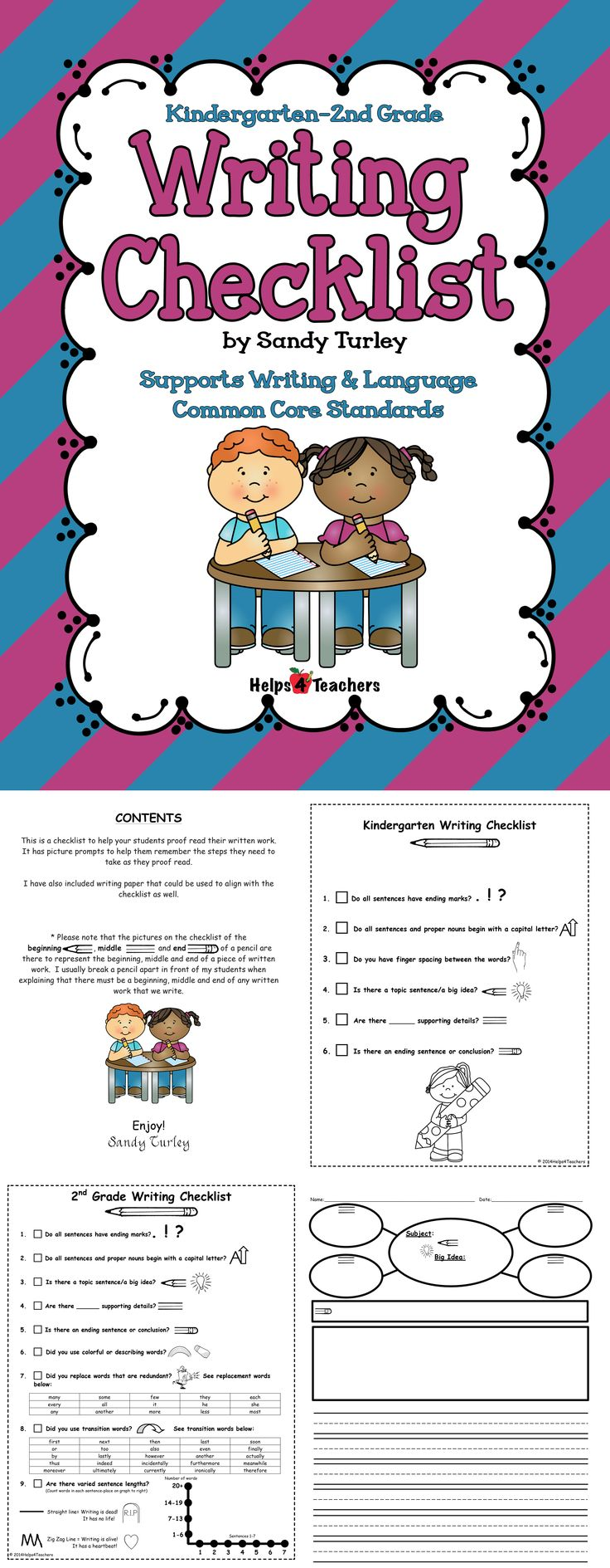 FREE! FREE! FREE!This is a checklist to help your students proof read their written work. It has picture prompts to help them remember the steps they need to take as they proof read. This file includes a checklist for Kindergarten, 1st Grade and 2nd grade as well as a generic checklist. It also includes writing paper with a writing web that goes with the checklist. Found at: http://www.teacherspayteachers.com/Store/Helps4teachers