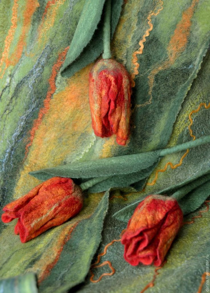 Felted Tulips tutorial in Russian - many pictures.