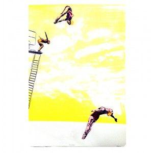 Yellow Divers Limited Edition Art Print available to buy online at Everything Begins    #fineartprint #screenprint #art #artprint #artwork #artforsale #buyartonline #yellow  #lady #woman #diving #sport #swimming #artforinteriors #wallart #walldecor #gicleeprint #limitededition