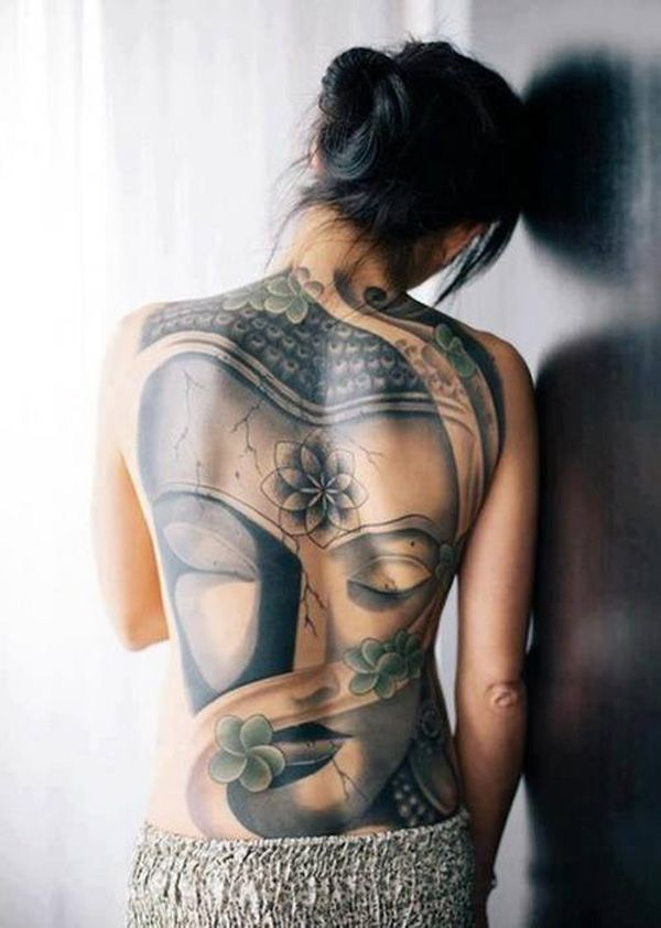 Another full back tattoo with a Buddha portrait. This has more femininity and purity so it could be great for women looking for an inspiring back tattoo.