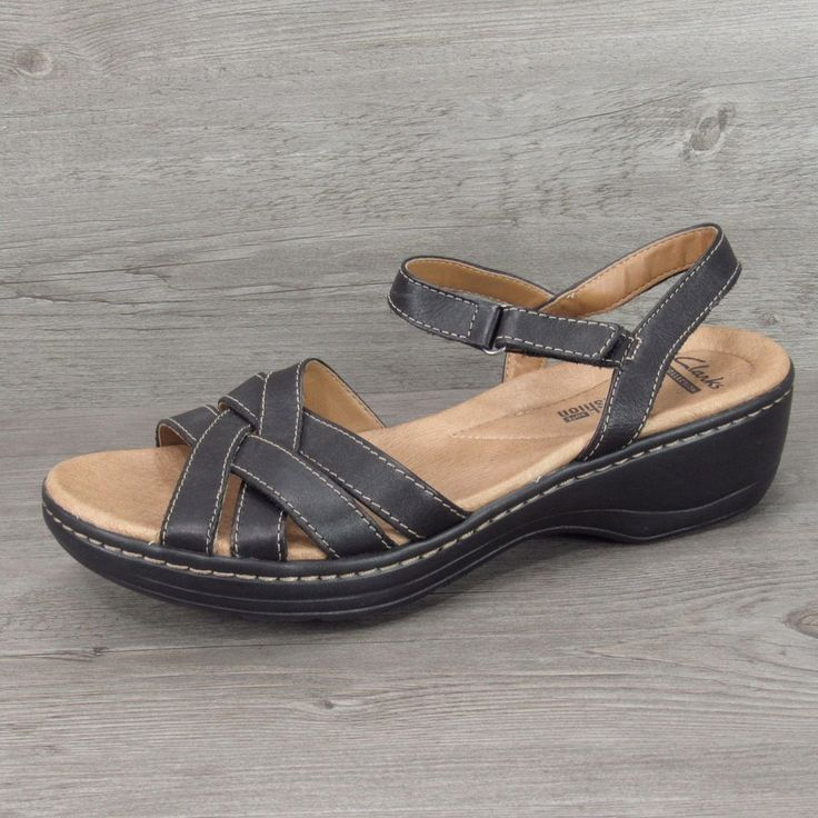 Clarks Black Leather Wedge Sandals Size 9.5 W