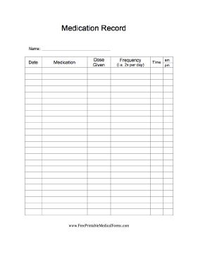 A simple form on which to log medications prescribed and frequency and time of taking them. Free to download and print