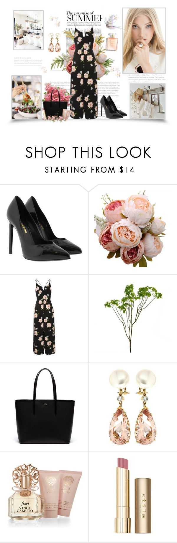 """The promise of summer"" by krystalkm-7 ❤ liked on Polyvore featuring Yves Saint Laurent, Topshop, Abigail Ahern, Lacoste, Valentin Magro, Vince Camuto and Stila"