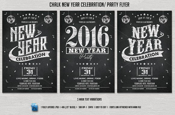 Chalk New Year Party Flyer by DesignWorkz on @creativemarket