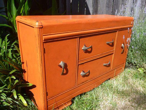 Vintage Art Deco Dresser Buffet Changing Table Painted Tangerine
