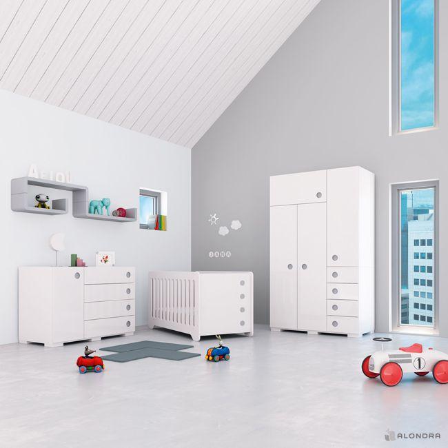 Habitaciones infantiles con encanto en color blanco y gris - Habitaciones color gris ...