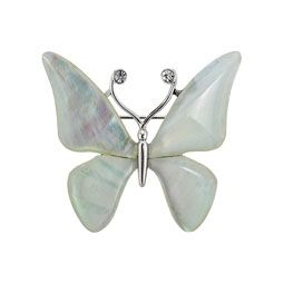 White Mother of Pearl Brooch with Butterfly Design