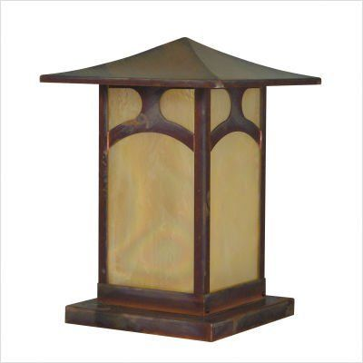 """Arroyo Craftsman KAC-7/9/12 Katsura Outdoor Column Post Lantern by Arroyo Craftsman. $361.99. Arroyo Craftsman KAC-7/9/12 Features: -Katsura collection. -Available in several finishes. -Available in several shade colors. -Available accent in Pendula and Toshi. -Shallow broad roof is symbolic of the Asian influence in this design. -UL listed. -Suitable in wet location. Specifications: -Accommodates: 1 x 100W medium incandescent bulb. -Available sizes:. -16"""" Overall dime..."""