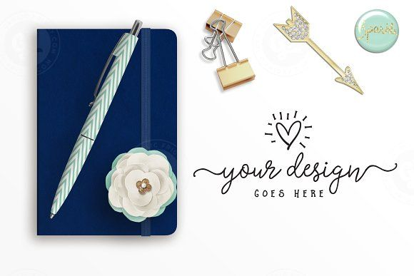 Navy & Gold Styled Desktop Scene by Garlic Friday Design on @creativemarket