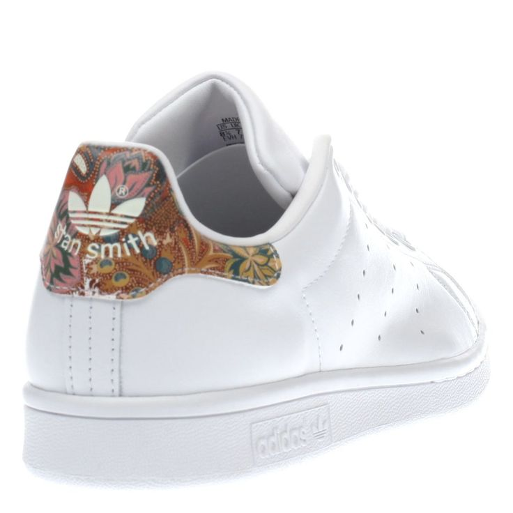 womens adidas white & orange stan smith floral trainers