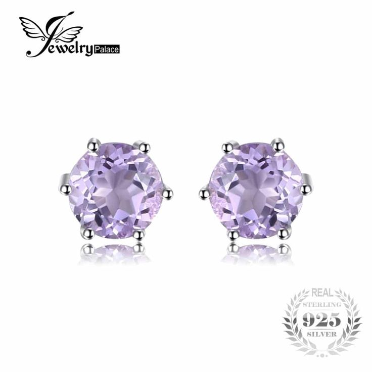 JewelryPalace Round 0.9ct Ladies Natural Amethyst Stud Earrings //Price: $12.95 & FREE Shipping //     #me