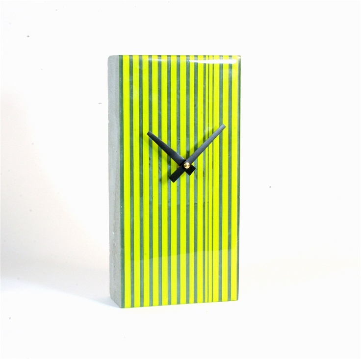 Contemporary Clock cast Concrete and fused glass by zulasurfing