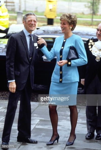 LONDON, UNITED KINGDOM - APRIL 15: Diana, Princess Of Wales, Sharing A Joke With The Honourable Angus Ogilvy As They Arrive For Their Visit To The Imperial Cancer Research Fund At Lincoln Inn Fields