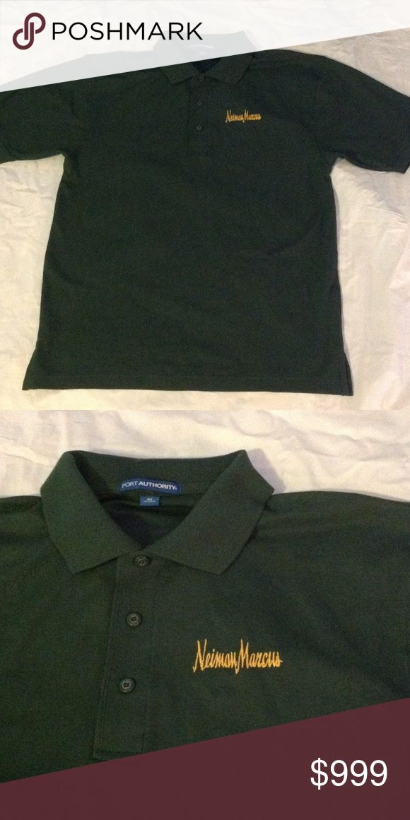 Neiman Marcus embroidered Polo Hunter green polo shirt with Neiman Marcus logo on the left side. port authority Shirts Polos