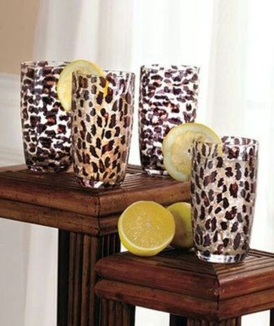 Leopard print drinking glasses......perfect for a get together with the girls.