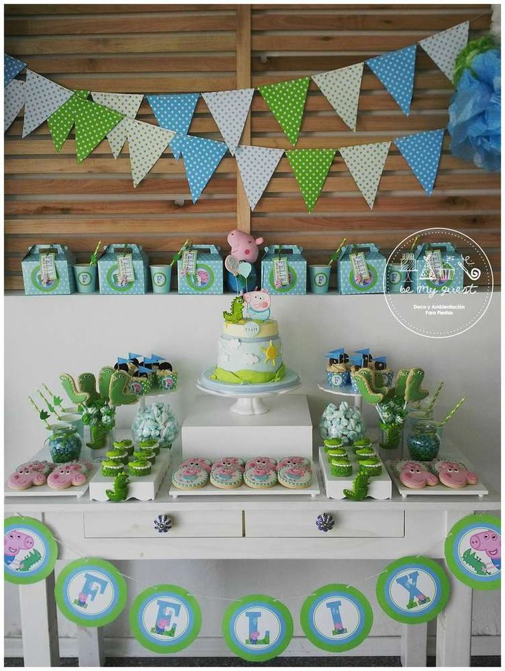Dessert table at a George Pig birthday party! See more party ideas at CatchMyParty.com!