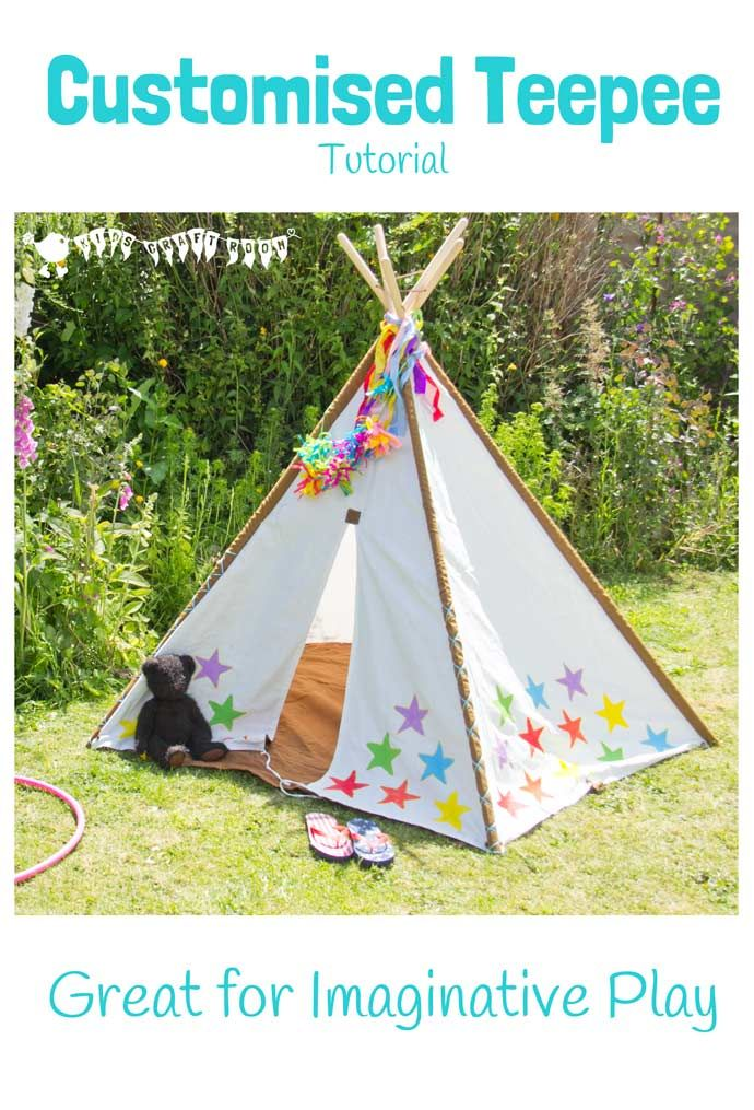 Here's an easy tutorial to customise a kids teepee for the garden or playroom. It looks so colourful, I just LOVE it and it's such a great resource to promote imaginative play too.