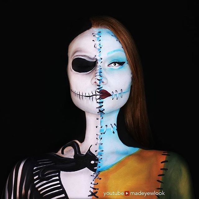 Jack & Sally mash-up!  Major Nightmare Before Christmas feelz from @creativeboss's tutorial! She used our Matte Shadow in 'Craving,' Slide On Pencil in 'Jet Black,' and Hot Single in 'Raven' for this look  Make sure to check out Lex's channel for more #NYXHalloween inspo! YouTube.com/MadeYewLook ❤️ || #nyxcosmetics #NYXHalloween