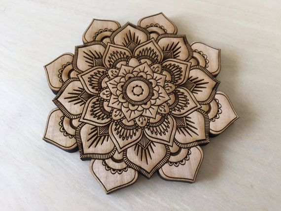 Laser Cut Alder Wood Mandala Coaster by NightOwlEngravingLLC