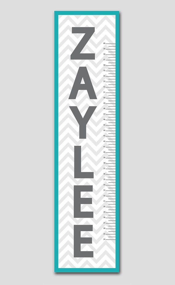 Personalized Teal & Grey Chevron Growth Chart- Premium Poster Paper, Nursery and Children Decor on Etsy, $42.95