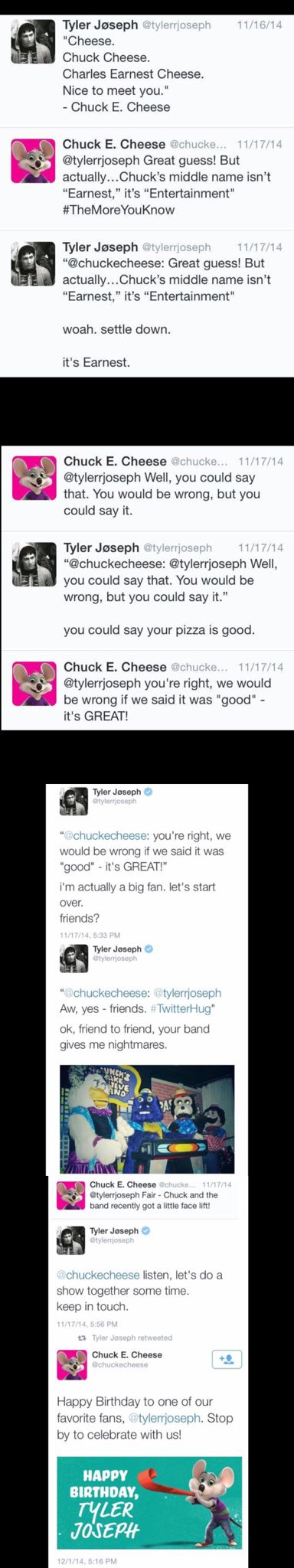 THAT IS THE BEST THING EVER SJDJSJJSJS I WILL NEVER LOOK AT CHUCK E. CHEESE'S THE SAME EJEJDHRK