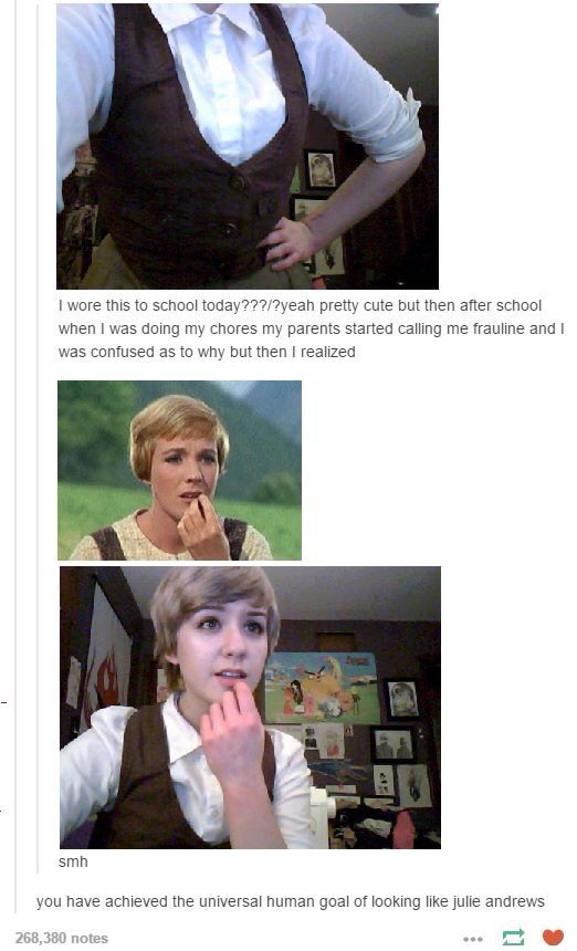 """The universal human goal of looking like Julie Andrews"""