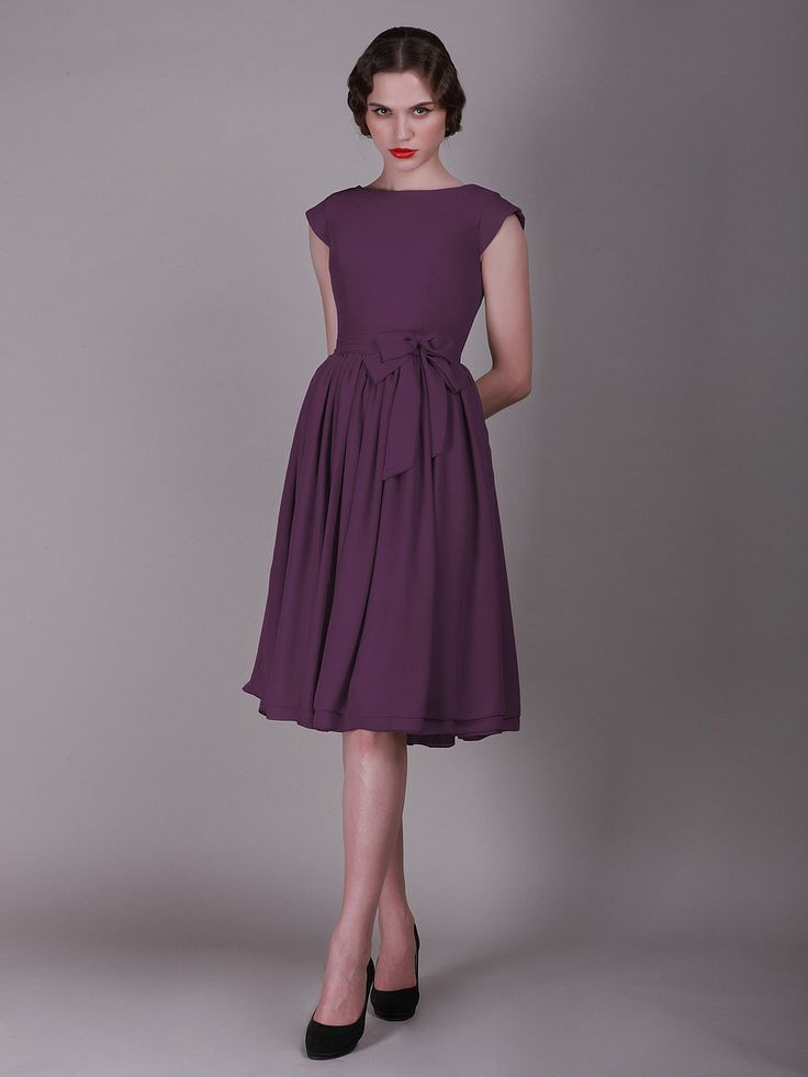 Cap sleeved vintage bridesmaid dress with faux buttons for Marina rinaldi wedding dresses