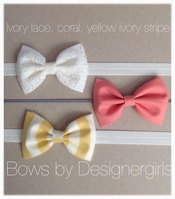 SET OF THREE  baby girl bow headband, Girl hair accessory, photography prop, baby girl headband on Etsy, $16.99
