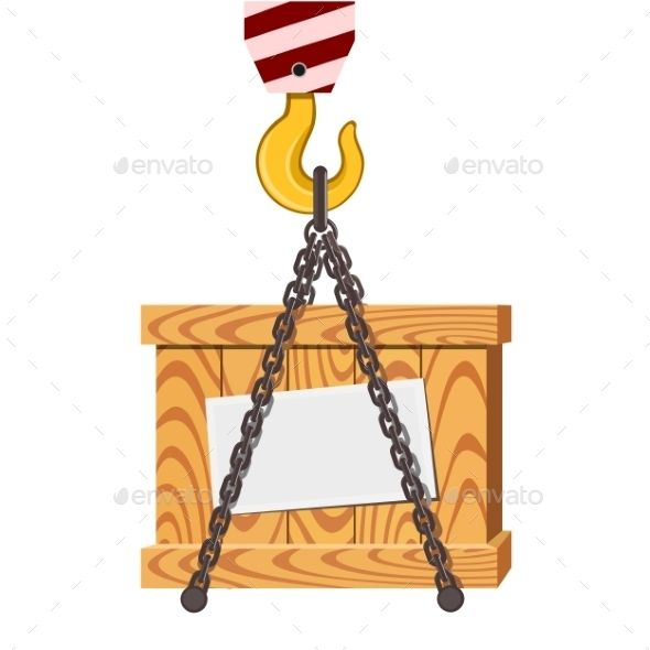 Cargo Transportation, Crane Hook and Wooden Box
