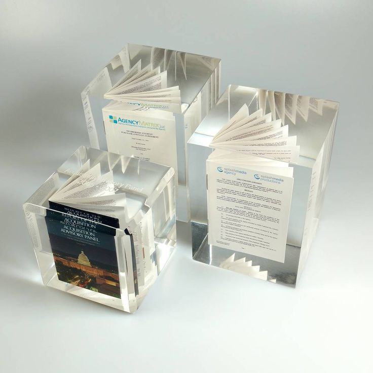 We all know how important and monumental certain contracts can be. Commemorate these valued documents with a custom Lucite recognition piece. We created miniaturized versions of these agreements prior to embedding them in clear Lucite cubes, making them a great momentum for everyone involved!
