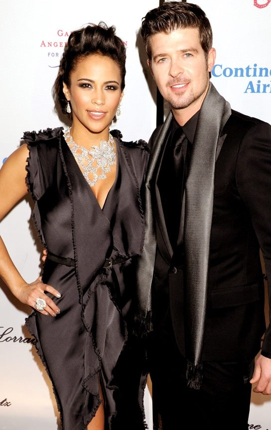 Paula Patton and Robin Thicke - love her dress, love that man.