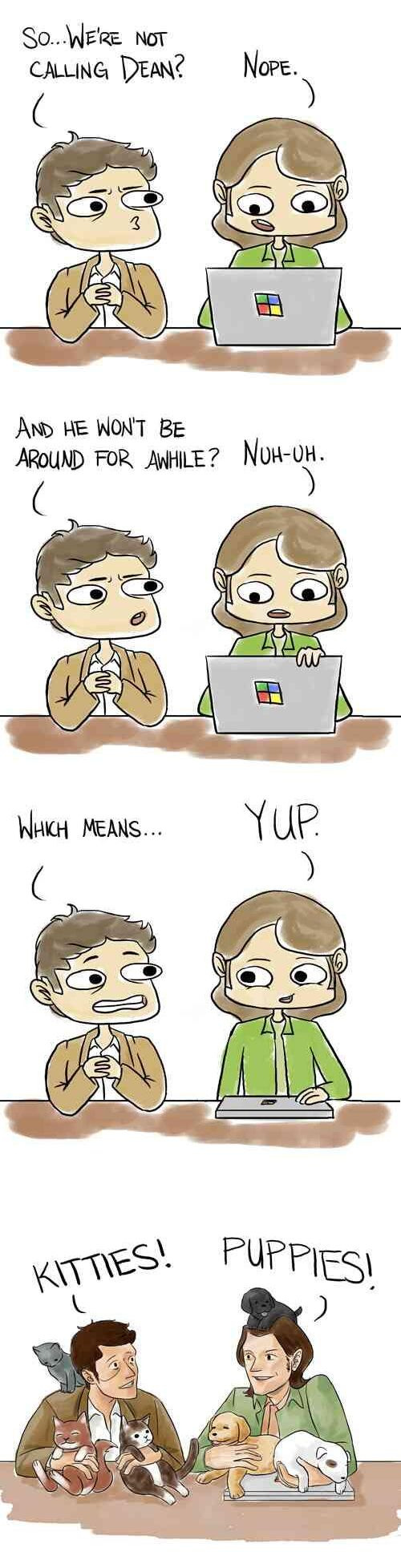 This makes me happy because there isn't enough stuff involving Castiel and Sam and that's not okay ← true!!