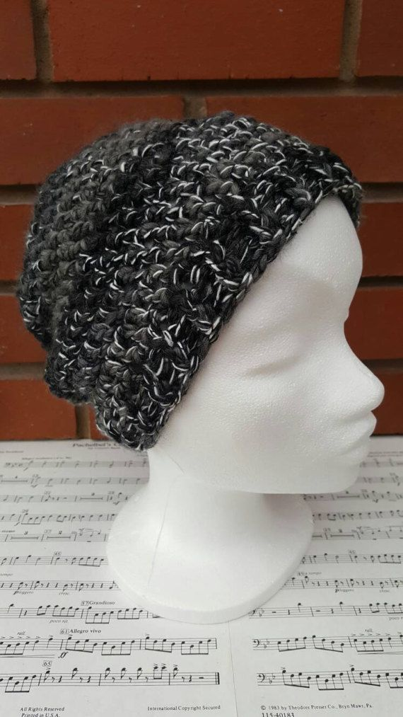 Crochet+hat+grey+hat+black+hat++adult+hat+womens+hat+mens