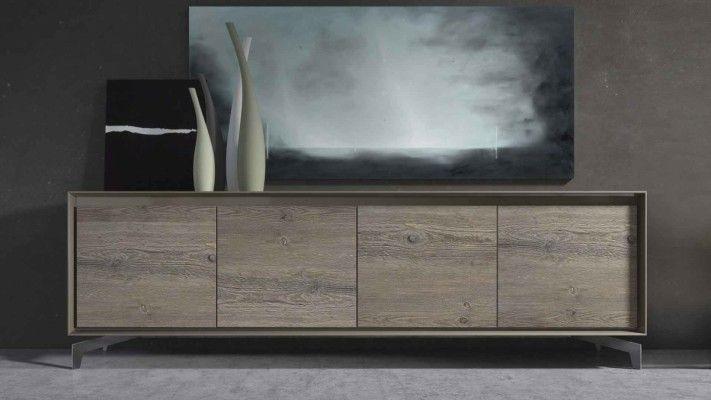 Neck è una madia moderna caratterizzata dal design minimal, superfici lisce beige argilla e timewood e grande versatilità. By Presotto