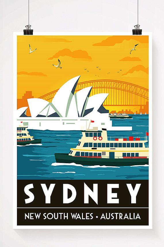 Harbour Ferry  Sydney Australia by ArtOfAdventureShop on Etsy