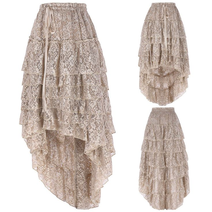 WOMEN Vintage Gothic Victorian Steampunk Skirt Retro Lace Ruffle Bustle Corset ღ | Clothing, Shoes & Accessories, Women's Clothing, Skirts | eBay!