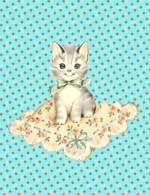 Juffie's ansichtkaart - Kitty op kussen