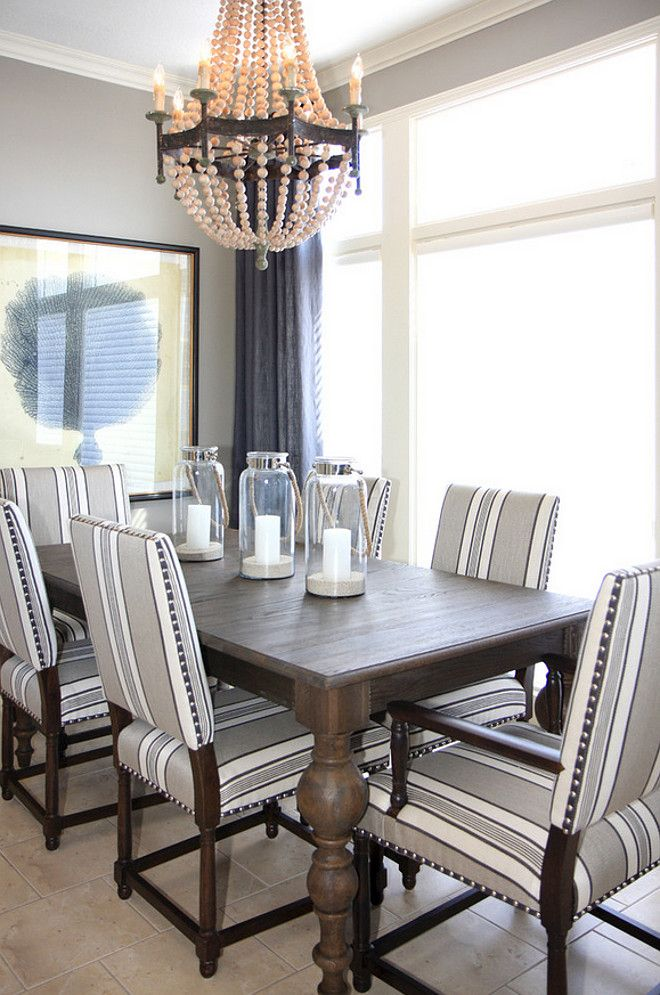 This Dining Room Balances Masculinity With Prettiness The Extra Little Details Of Chairs Nailhead Trim And Chandelier