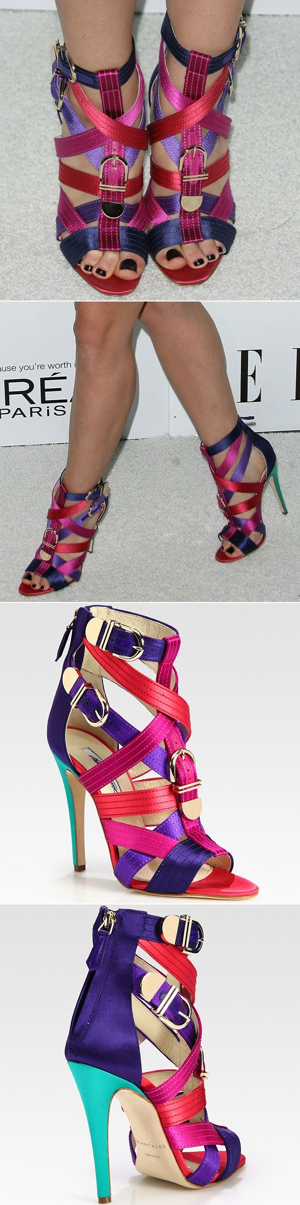 Jayma Mays rocking Brian Atwood 'Encanta' buckled multicolored strappy satin sandals