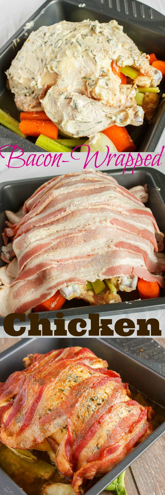 Bacon Wrapped Whole Chicken with Maple-Herb Butter | #chicken #bacon #dinner | http://thecookiewriter.com