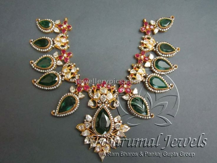 Flat Diamond emarald necklace by Tibarumal jewellers - Latest Jewellery Designs