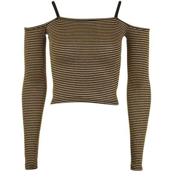 Topshop Stripe Bardot Top ($27) ❤ liked on Polyvore featuring tops, topshop, striped top, brown crop top, stripe crop top, cut-out crop tops and long sleeve crop top