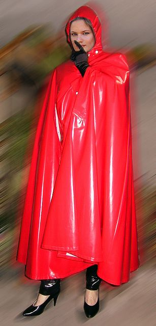 Red Rubber Hooded Cape | Capes and Coats | Raincoat jacket ...