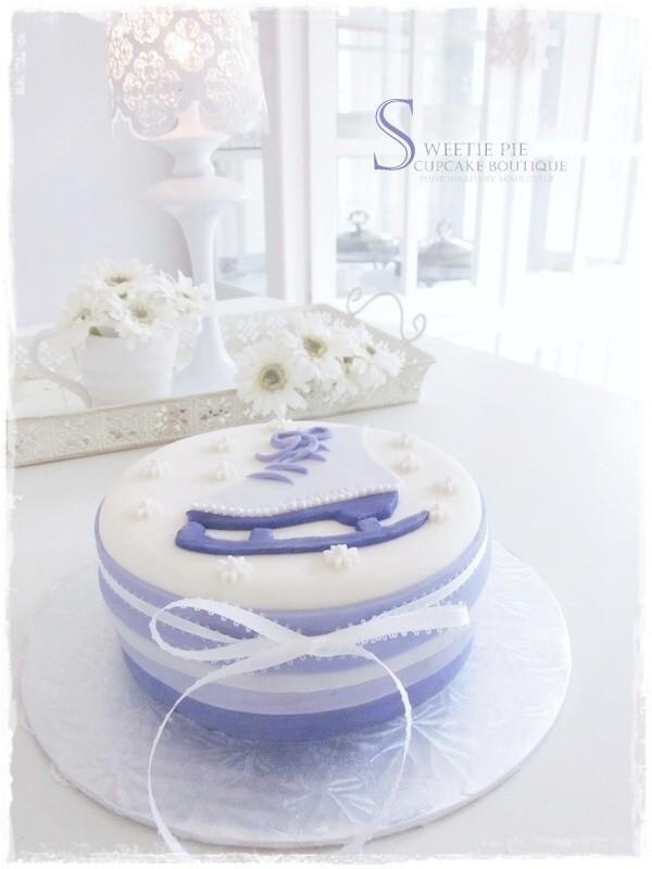 Ice skate birthday cake