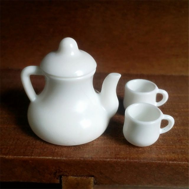 Tanduzi Белый Кукольный Домик Чашки Чая Набор Kawaii Миниатюрные Кухонные Игрушки Мини-Кухня Столовая Чашки Кукла Дома 1:12 Миниатюре