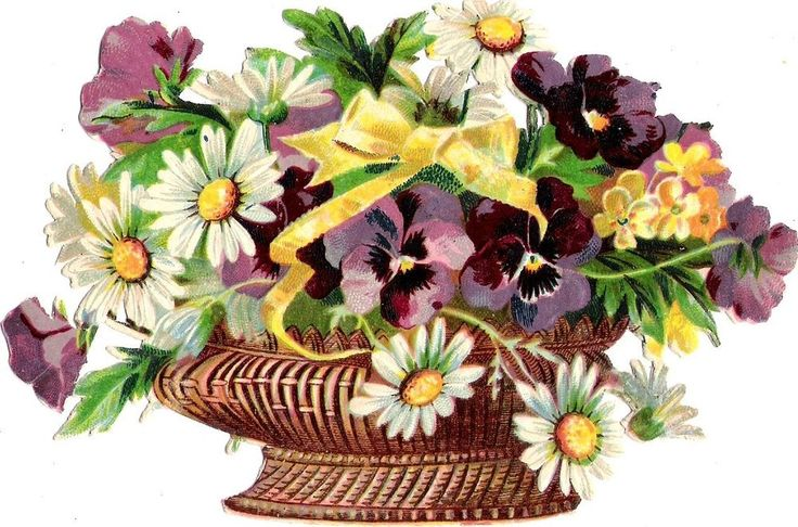Oblaten Glanzbild scrap die cut  chromo  Blumen Korb  14,5 cm  basket  Margerite