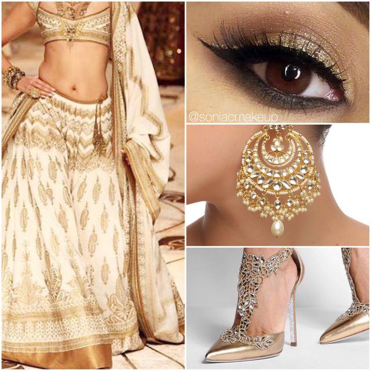 Golden bridal style board, rohit bal white lengha, gold smoky eyes, kundan art karat jewels, Rene caovilla shoes