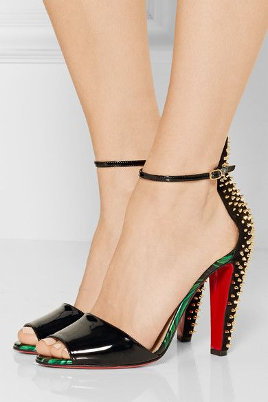 Christian Louboutin - Tropanita 100 Studded Patent-leather Sandals - Black - IT41