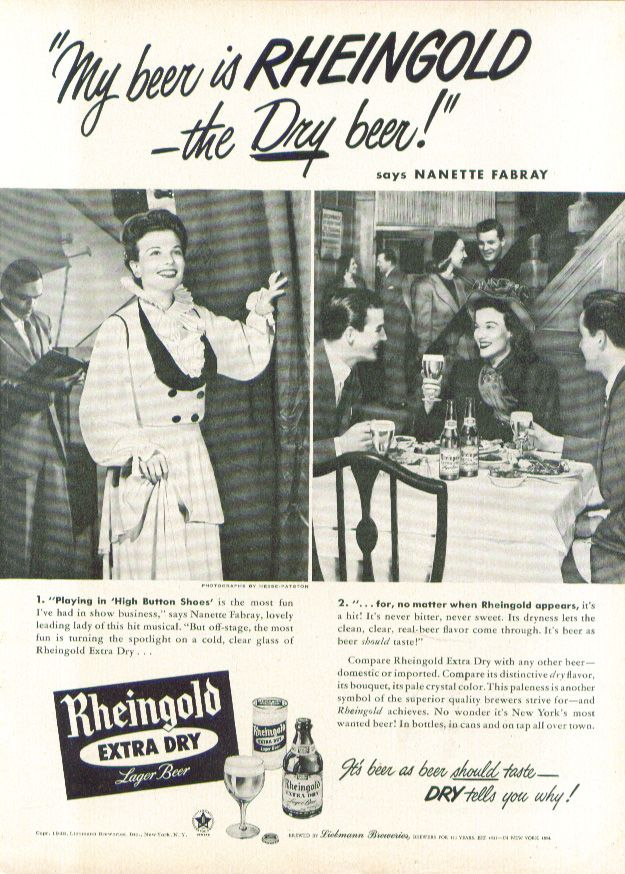 0 Nanette Fabray for Rheingold Extra Dry Beer ad 1948